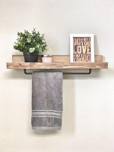 Rustic Wooden Rack Ledge Shelf, Ledge Shelves, Wooden Rack, Rustic Home Decor, Towel Rack Shelf, Bathroom Rack, Farmhouse Decor Rustic Wooden Rack Ledge Shelf Ledge Shelves by cherrytreegallery