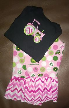Tractor applique onesie and matching ruffle pants