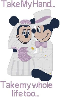 Cross Stitch Knit Crochet Plastic Canvas Waste Canvas Rug Hooking and Bead Work Pattern Mickey and Minnie Bride and Groom at their Wedding.  You can make them in any color scheme you like or match your own wedding.  Take my hand...Take my whole life too.  https://www.pinterest.com/resparkled/