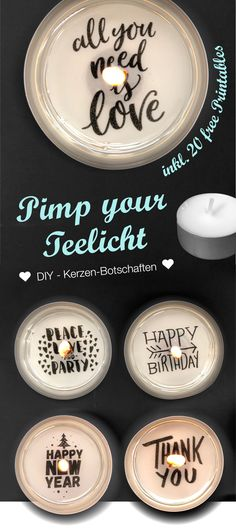 Make a tealight with a message yourself - creative little gift ideas - Teelicht mit Botschaft selber machen – kreative kleine Geschenkideen Make tea lights with messages as DIY gifts yourself Diy Holiday Gifts, Diy Gifts, Christmas Diy, Christmas Messages, Tea Light Candles, Tea Lights, Christmas Gifts For Boyfriend, Ideias Diy, Homemade Candles