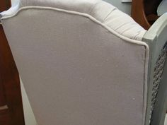 Re-upholstered Chair using Drop Cloth fabric.