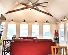 Red sofa, wall of windows, farmhouse, gooseneck, wood floors Red Sofa, Glenwood, Window Wall, Wood Floors, House, Home, Farmhouse, Luxury Homes, Beautiful Views