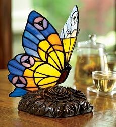 Stained Glass Butterfly Accent Lamp with Rose Blossom Base in Holiday 2012 from Wind & Weather