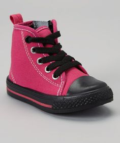 Love this Fuchsia & Black Zipper Hi-Top Sneaker by LILLY of NEW YORK on #zulily! #zulilyfinds