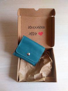 Cartera de Cuero Tamaño Pequeño Color Verde Azulado, Monedero para Mujer, Cartera de Piel color Verde Azulado de JYNzapateros en Etsy