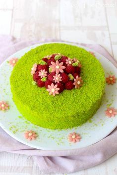Entremets à la pistache, insert à la framboise, rhubarbe et fraises