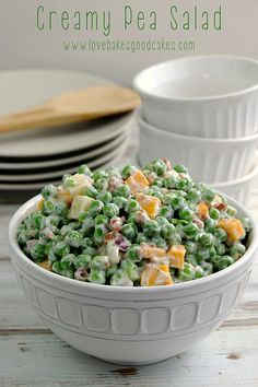 Creamy Pea Salad - This salad is a nice change from the typical potato or pasta salads. It requires very little cooking and a little bit of chopping - it could easily be a no cook recipe if you buy precooked bacon!