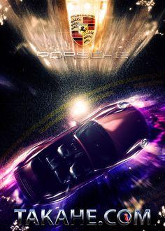 Duite a futuristic display of a Porsche convertible.