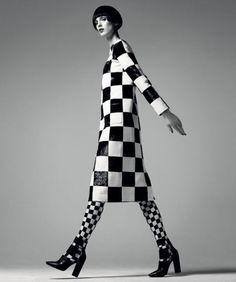 Dress, Louis Vuitton. 866-VUITTON. Shoes, $625, Alexander Wang. shopBAZAAR.com.  Tights, stylist's own.
