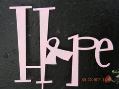 Hope Pink Ribbon Garden Art