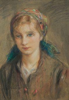 Teodor Axentowicz | <i>Hutsul girl</i> | pastel, crayon, watercolor, cardboard | 50 x 35 cm