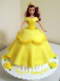 Belle Doll Cake by ayarel Marbled vanilla/chocolate cake, fondant dress, buttercream roses/details.