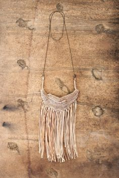 from the woods - special designer  super Fringe Necklace Macrame Beige