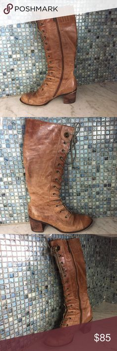 Seychelles Anthropologie Boots Tall Vintage Style These boots have a boho Victorian look! They are broken in and distressed. They are really cool Lace up Boots! Floral lining complete the look! Seychelles Shoes Lace Up Boots
