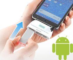 Lector USB y tarjetas para Samsung Galaxy II, Sony Xperia NX SO-02D; Sony Xperia acro HD IS12S; Toshiba REGZA Phone T-01D; y Sony S-series Tablet entre otros.