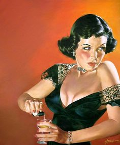 https://flic.kr/p/snkGaD | George Gross | She's not adding artificial sweetner to that drink. The painting was on the cover of Best True Fact Detective magazine in June 1949.
