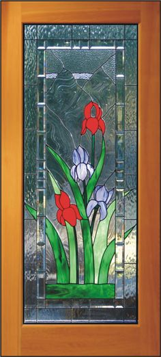 Iris Door    Colorful stained glass irises with clear textured glass and a beveled border.