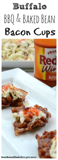 Looking for that perfect summer dish to serve during your backyard BBQ festivities? These Buffalo BBQ and Baked Bean Bacon cups pack a punch of heat you won't be able to resist, plus there super fun to eat! | Southern Made Simple