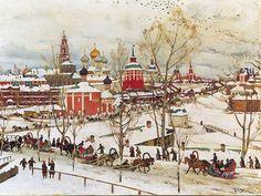 En Serguiev Possad, huile sur toile de Konstantin Yuon (1875-1958, Russia)