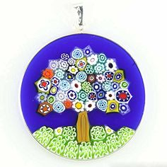 GlassOfVenice Murano Glass Millefiori Pendant Tree of Life in Silver Frame Venetian Glass, Murano Glass, Fused Glass, Glass Jewelry, Jewellery, Crazy Art, Weird Art, Tree Of Life, Tulip