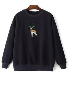 Animal Embroidery Round Collar Long Sleeve Sweatshirt