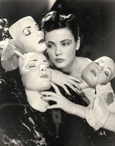 Film actress Gene Tierney poses with some life masks of her face. Photo by Horst P. Horst, 1940 (via) Photography Women, Vintage Photography, Portrait Photography, Photography Lessons, Fashion Photography, Gene Tierney, Man Ray, Black And White Portraits, Black And White Photography