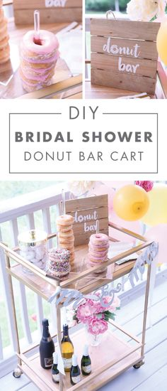 Looking for party decor with plenty of charm and cuteness? This DIY Bridal Shower Donut Bar Cart is sure to catch your eye. Stock this entertaining essential with plenty of sweet treats and bubbly and watch the smiles appear.