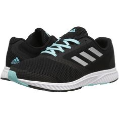 adidas Running Mana Racer (Core Black/Silver Metallic/Clear Aqua)... ($75) ❤ liked on Polyvore featuring shoes, athletic shoes, aqua shoes, lightweight running shoes, clear shoes, lace up shoes and laced up shoes