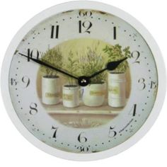 """Roger Lascelles Herb Pots Wall Table Clock 8 1"""" Home Decor Design Styling New 