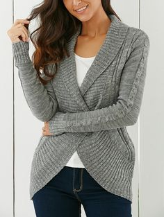 Stylish Shawl Collar Long Sleeve Slimming Cable Cardigan For Women