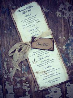 Rustic Wedding Place card and Wedding Menu by ShabbyScrap on Etsy