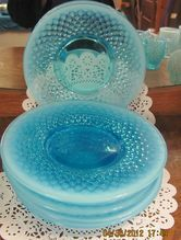 Stunning set of 6 Fenton Blue Opalescent hobnail 8in Luncheon plates