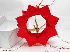 Colgante rueda de origami con grulla