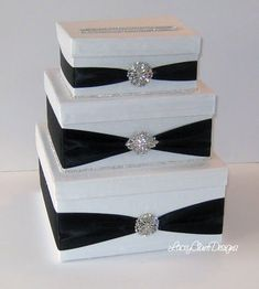 Wedding Card Box I can do this!! I love the black & white with bling bling
