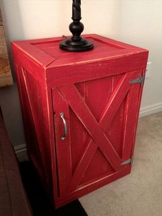 Blowout 1 Day Sale April 6 - Barn Red Crate Nightstand From Recycled Wood