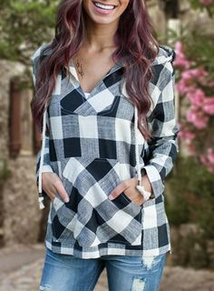 Preppy Style Drawstring Hooded Plaid Print Pullover Hoodie For Women