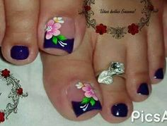 Wow love this flower nail art for toes Pretty Toe Nails, Cute Toe Nails, Toe Nail Art, Toe Nail Designs, Nail Polish Designs, Flower Pedicure Designs, French Pedicure Designs, Summer Toe Nails, Feet Nails