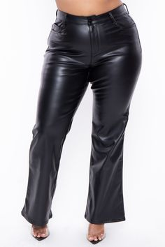 """This plus size, stretch knit ribbed pants feature a zipper fly with dual button closure, 5-pocket construction, for sure shapes the butt and sit at natural waist, slim through hips and legs hugging your curves and flare from the knee to hem this is a vegan leather pant Content + Care 100% Polyurethan Wipe Clean With Damp Cloth Model Measurement Wearing a Size 1X Height: 5'8"""" Bust: 47"""" Waist: 34"""" Hip: 49"""" Inseam: 31"""" High Waisted Leather Leggings, Leather Pants Outfit, Black Leather Pants, Black Pants, Latex Pants, Pant Shirt, Plus Size Pants, Vegan Leather, Clothes For Women"""