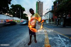 Street Performer Spinning Fire In Recife Brazil Stock Photo | Getty Images