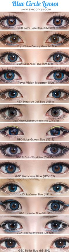 Blue circle lenses & colored contact lens. Shades of aqua, turquoise and teal evoke mystery, exoticism and confidence, making your eyes glittering and radiant. Shop authentic circle lenses with Free Shipping! http://www.eyecandys.com/blue/
