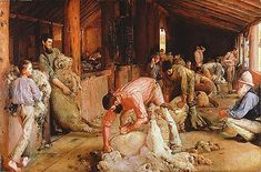 """1890. """"Shearing the Rams"""" by Australian artist Tom Roberts. The painting depicts sheep shearers plying their trade in a timber shearing shed. Distinctly Australian in character, the painting is a celebration of pastoral life and work, especially """"strong, masculine labour"""" and recognises the role that wool-growing played in the development of the country."""