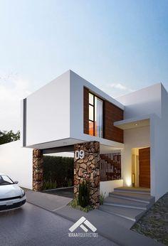 FACHADA PRINCIPAL: Casas de estilo minimalista por FERAARQUITECTOS #casasminimalistas