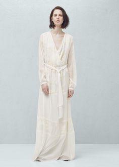 Langes kleid mit stickerei | MANGO