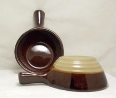 Pair vintage Monmouth Western Stoneware handled soup bowls made in USA - Monmouth/ Marcrest/Western SW