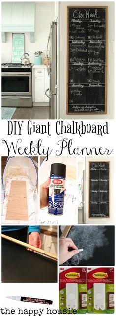 DIY Giant Chalkboard Kitchen Weekly Planner - The Happy Housie
