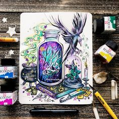 🌙(Original has sold. Posca Marker, Witch Drawing, Halloween Artwork, Cartoon Girl Drawing, Witch Art, Art Challenge, Fantastic Art, Book Of Shadows, Aesthetic Art