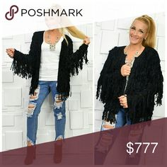 BLACK FRINGED CARDIGAN BRAND NEW BOUTIQUE ITEM PRICE IS FIRM  This cardigan is a MUST HAVE for your fall/winter wardrobe!! Look at all that playful fringe!!! This color will pair perfectly with any outfit. Style is causal or dressy either way this comfy  cardigan is a true statement makers!!!  Material 100% acrylic True to size Open front style  celebrity warm sweater sweaters cardigan vacation holiday gift present party MODA ME COUTURE Sweaters Cardigans