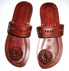 Panelled Circle Post Leather SandalsHandmade by IncredibleIndia, $38.00