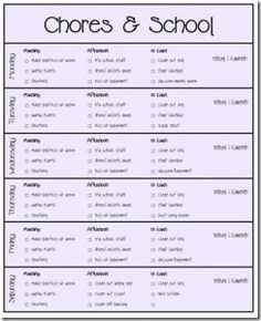 Printable Chore Cards   Best Printable chore cards and Chore cards ...
