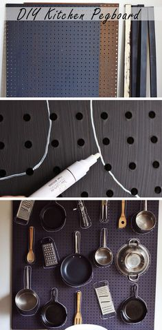 DIY Kitchen Pegboard - Genius Organization Ideas for Small Kitchens  - Click for Tutorial